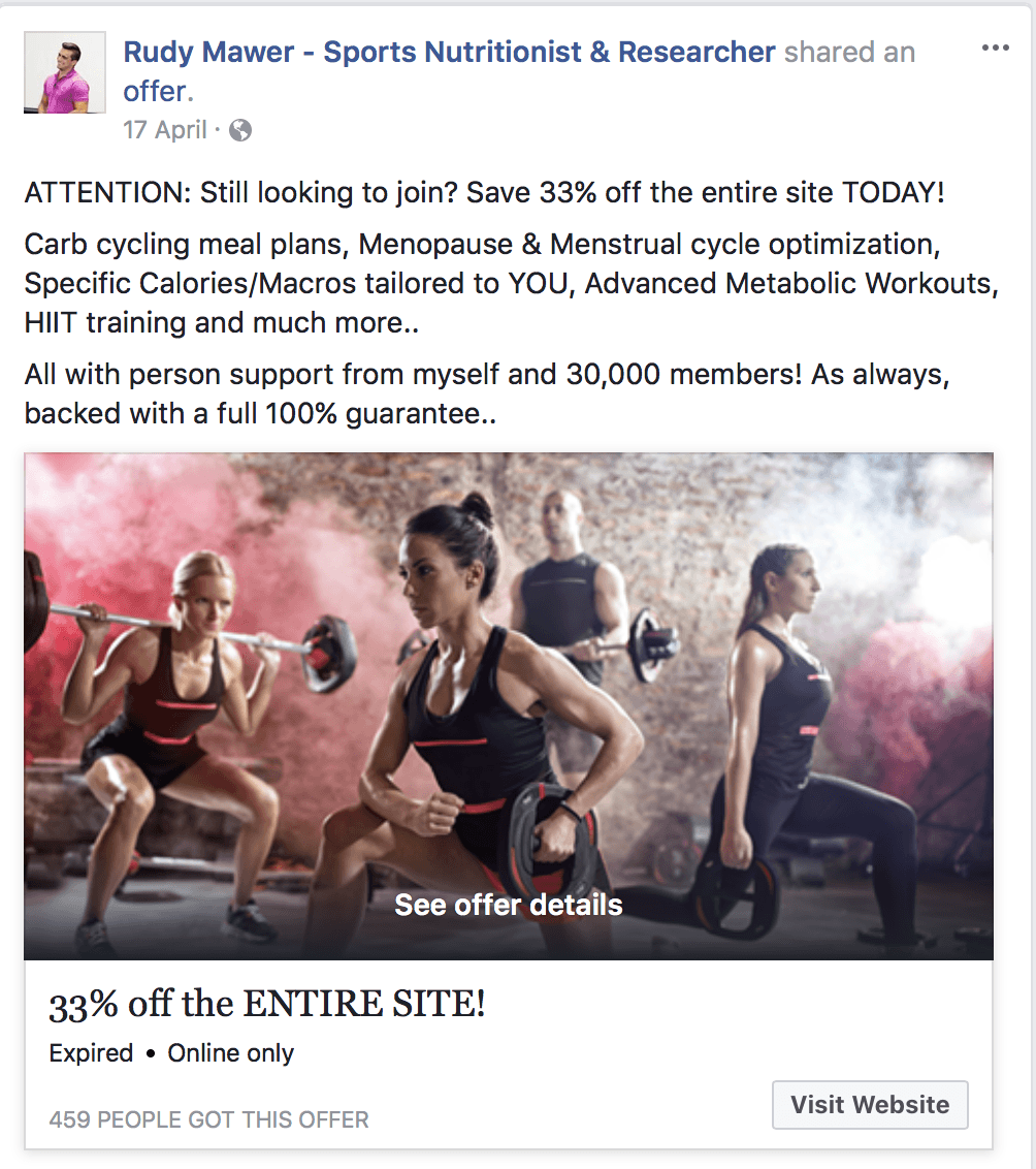 Facebook ad offer campaign